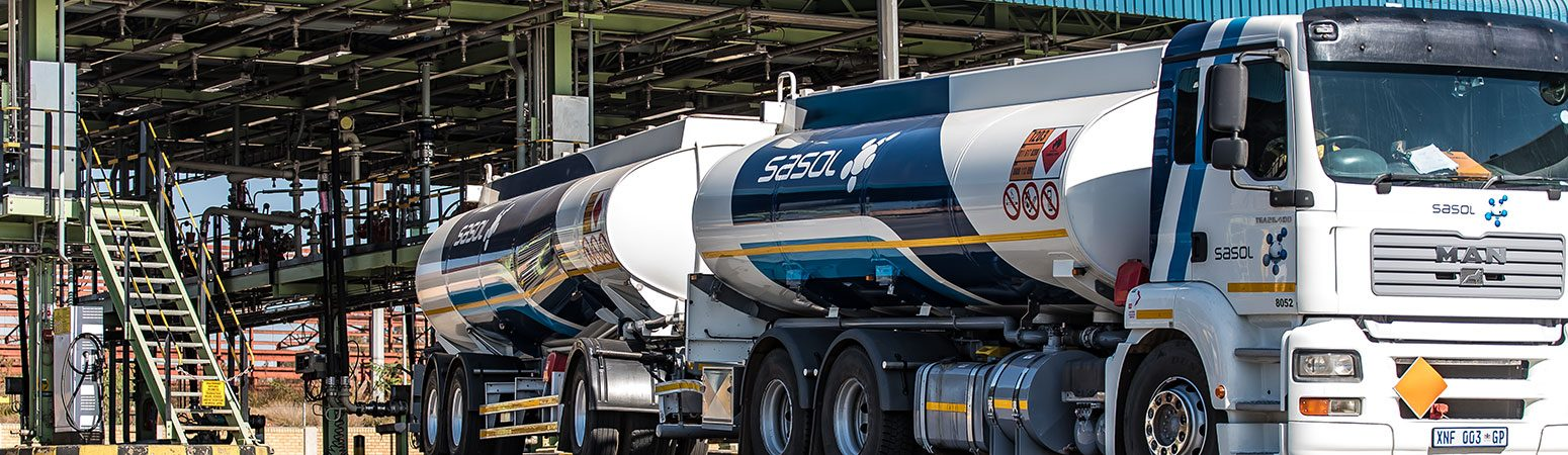 Sasol fuel tanker leaving the fuel depot