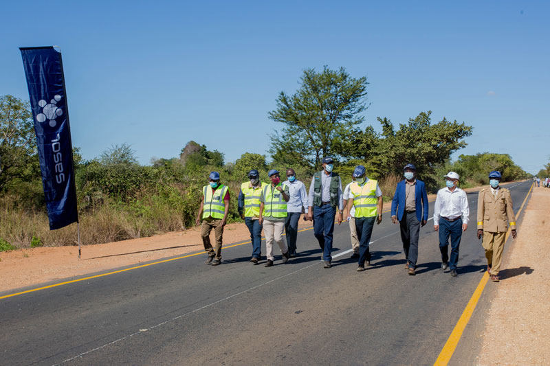 minister walk on the rehabilitated 35 km stretch of National Road Number 1 (EN1)